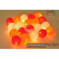 Orange Tone Cotton Balls String Lights