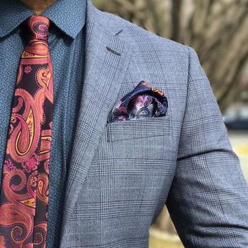 Red Paisley SkinnyTie Boyfriend Gift Men's Gift Anniversary Gift for Men Husband Gift Wedding Gift For Him Groomsmen Gift for Friend Gift