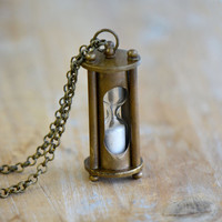 Sand Timer Hourglass Necklace, Antique Bronze, Vintage Style Pirate Nautical Hour Glass Sandtimer Pendant & Chain (BA065)