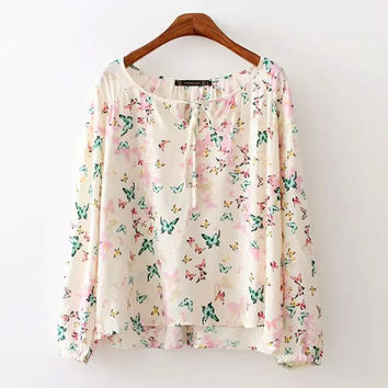 Summer Butterfly Print Blouse [6513713415]