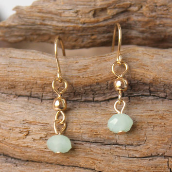 Double Beaded Drop Earrings, Mint