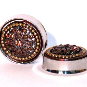 Gold Crystal Cluster Plugs 1 1/8 1 3/16 1 1/4 Inch 28mm 30mm 32mm