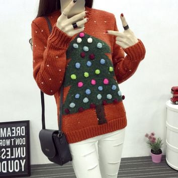 Christmas tree knitted sweaters