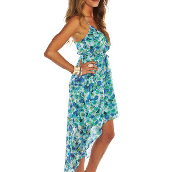 Blue Floral Asymmetrical	 Dress