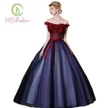 Sexy Flower Fairy Princess Prom Dress Beads Lace Up Back Off The Shoulder Party Custom Ball Gown