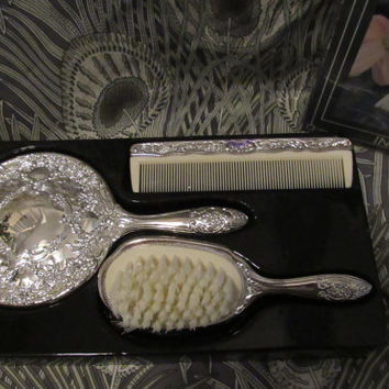 HOLIDAY SALE 80s Silver Plated Dresser Set // NOS Dead Stock Mini Silver Brush Mirror Comb Girls Set // Silver Babies Brush Comb Hair Access
