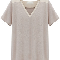 Khaki V Neck Short Sleeve T-Shirt
