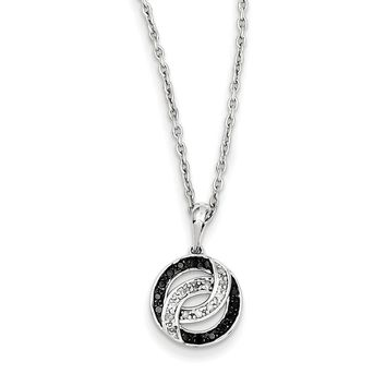 Black & White Diamond 11mm Swirl Circle Necklace in Sterling Silver