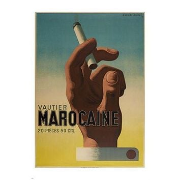 VAUTIER MAROCAINE vintage ad poster FRENCH CIGARETTE retro smoking 24X36
