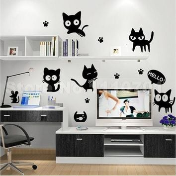 Cartoon black cat cute Wall Stickers For Kids Rooms
