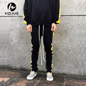 Men pants Striped Waistband Track Pants Zipped Pockets Pencil Pants Joggers men Trousers