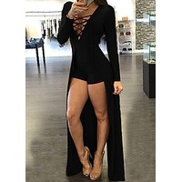 Autumn Black Red Jumpsuit for Women Rompers Sexy Long Sleeve Deep V-Neck Playsuits Fashion Elegant Short Pants Jumpsuit