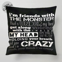 The Monster Eminem Featuring Rihanna quoites pillow case, cover ( 1 or 2 Side Print With Size 16, 18, 20, 26, 30, 36 inch )