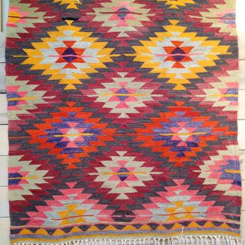 Antalya Kilim Rug in Diamond Pattern