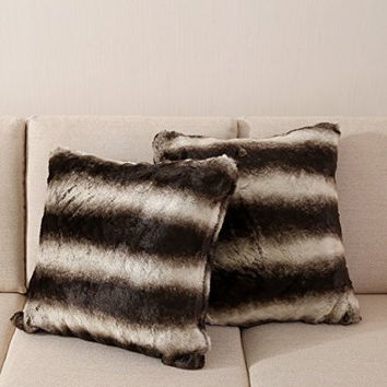 OJIA Best Soft Sheepskin Faux Fur Decorative Cushion Throw Pillow Cover Case 18x18 Inch Dark Brown
