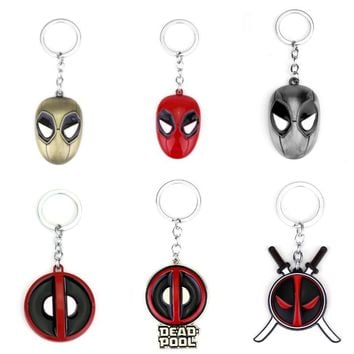 Fashion Jewelry Deadpool Enamel Mask Keychain Personality Red and Black Classic Pendant Vintage Round Dome Key Chain