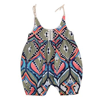 Geometric Floral Newborn Infant Baby Girl Sleeveless lacing Geometric Bohemia Halen Romper Outfits Clothes Summer Clothing