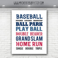 8x10 Baseball Nursery Print, Baby Art, Baseball Theme Gift, Baby Boy Print, Baseball Print, Baby Shower Gift,  Boy Room, Baby Boy Baseball