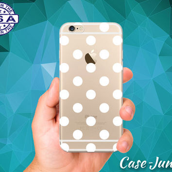 White Polka Dot Pattern Cute Custom Crystal Clear Transparent Rubber Case Cover For iPhone 6 and iPhone 6 Plus +