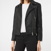 ALLSAINTS US: Womens Papin Leather Biker Jacket (Black)