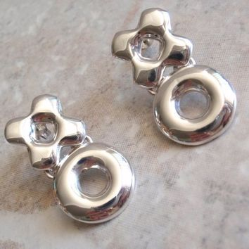 Sterling XO Earrings Post Pierced Kiss Hug Drop Hinged Vintage 593ade767fa7