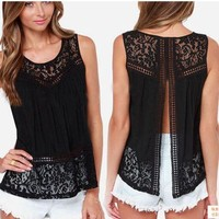 Tops & Tees Tanks & Camis Fashion Women Summer Vest Top Sleeveless Casual Hollow Out Lace  Tank Tops