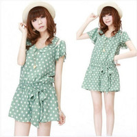 Korean Fashion Babydoll neck Lace Shoulder sash Waist Polka dots Jumpsuit Shorts