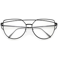Modern Oversize Laser Cut Clear Lens Glasses A939