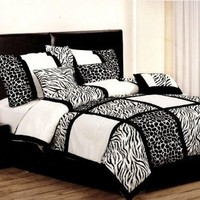 7 Pcs Safari Leopard/Zebra Microfiber Bedding Comforter Set Queen Black/White