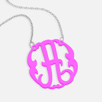 Acrylic Initial Necklace, Color Name Necklace for Girls, Kids Necklace, Pink Necklace, Graduation Gift Ideas, Black Necklace, Back to School