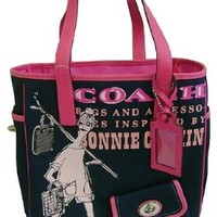 Coach Bonnie Girly Canvas Bag Tote 13530 Navy Pink:Amazon:Shoes