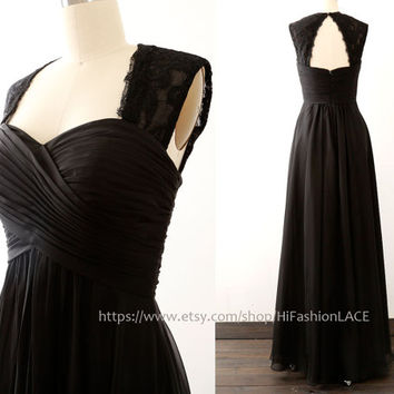 Black Long Bridesmaid Dresses, Lace Straps Prom Dress, Lace Chiffon Formal Dress, Wedding Bridesmaid Dress
