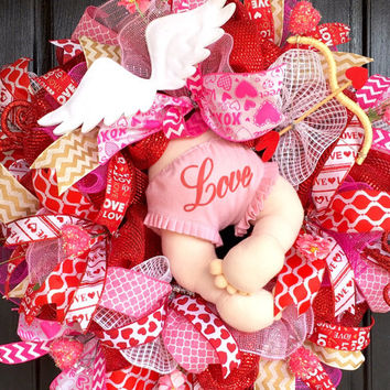 Valentine's Cupid wreath,Valentine's Deco mesh wreath, Valentine's Day wreath,Valentine's mesh wreath, Valentine wreath, Valentine decor