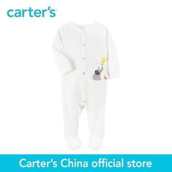 Carter's 1pcs baby children kids clothing boy&girl Animal applique Built-in footies Cotton Snap-Up Sleep&Play 115G227