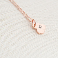 Rose Gold Initial Heart Necklace, Sideway Heart Necklace, Hand Stamped, Personalised Jewellery, Rose Gold Plated Necklace