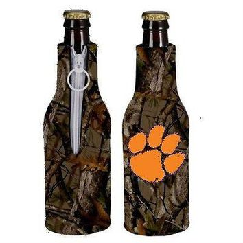 Clemson Tigers Camo Bottle Holder Zipper Koozie