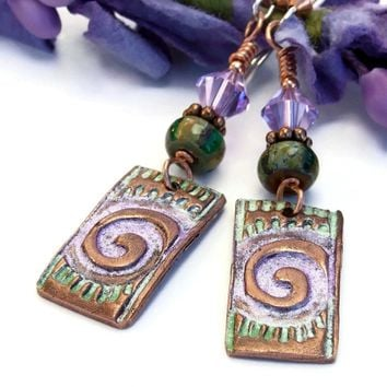 Tribal Spiral Handmade Copper Earrings, Green Lavender Artisan Dangle Jewelry