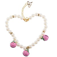 Strawberry Pearl Bell Collar