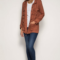 Long Sleeve High Neck Safari Jacket with Double Pockets & Waist Tie