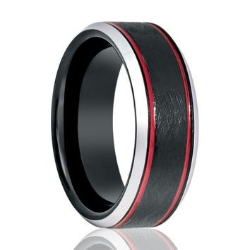 Black Wire Brushed Men's Tungsten Wedding Band with Double Red Off Set Groove & Silver Beveled Edges - 8MM