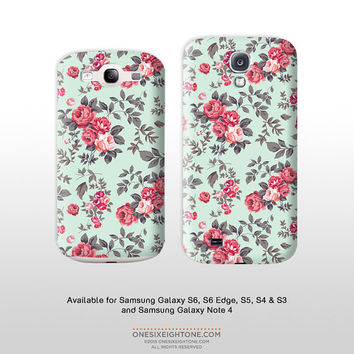 Vintage floral phone case. Samsung Galaxy S6 Edge S5 & Note 4 Classic rose wallpaper print phone cover- Cottage Chic FP126 galaxy s4 s3