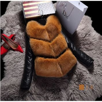 2016 New Women Faux Fox Fur Jacket Vest Removable Sleeves Outwear Cost Winter Warm Waistcoat Short Christmas PU Leather A1104