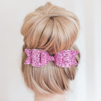 7-color large size shiny gold glitter bow hairpin Ms  Spring clip Pink