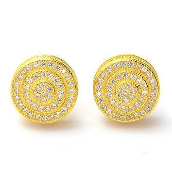 Jewelry Kay style Men's Fashion Gold Plated Double Round Screw Back Stud Earrings SE 11171 G