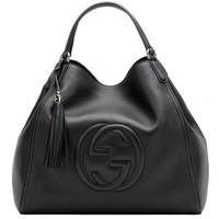 PEAP1 Gucci Soho Medium Black Hobo Leather Double Strap Italy Handbag Bag New