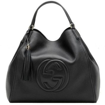 1c49b343e82e2e PEAP1 Gucci Soho Medium Black Hobo Leather Double Strap Italy Handbag Bag  New