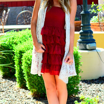 CHARMED LAYERED DRESS IN WINE
