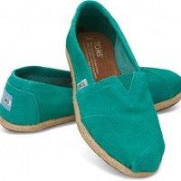 TOMS Green Sheen Perforated Suede Women's Classics Slip-On Shoes,