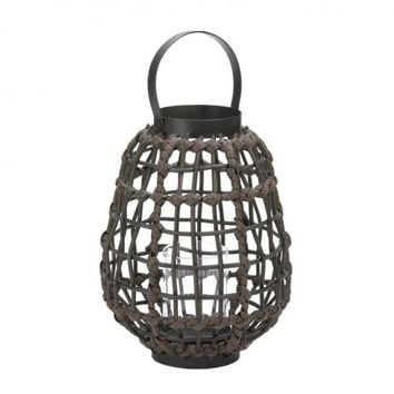 Rattan Look Basket Candle Lantern