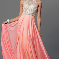 Sleeveless Floor Length Dress with Sheer Back